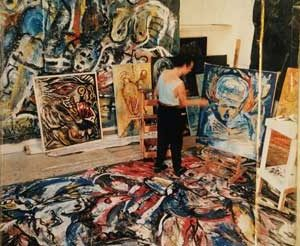 Jacob Kanbier working in his gallery in 1985