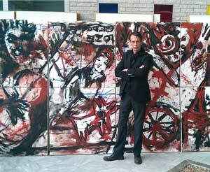 Jacob Kanbier with a 8 piece painting in 2012