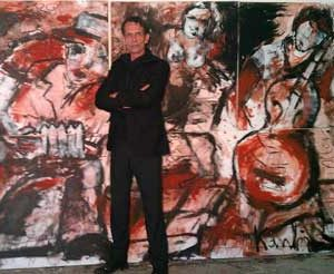 "Jacob Kanbier with his painting ""The Band"" in his gallery in Leiden in 2012"