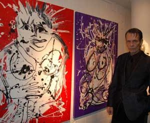 "Jacob Kanbier with 2 of his paintings in ""Finds Art gallery"" in Kalmthout (Belgium) in 2012"