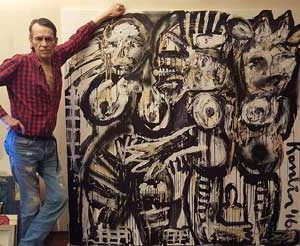 Jacob Kanbier with his painting at home in 2016