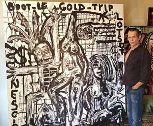 Jacob Kanbier with his painting at home in 2018